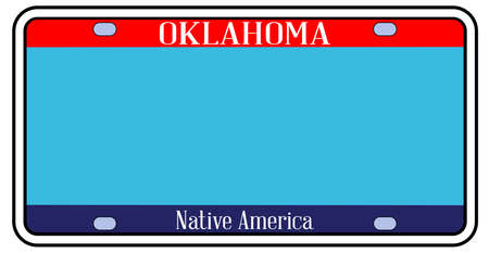 Blank Oklahoma state license plate in the colors of the state flag  over a white background Stock Illustratie