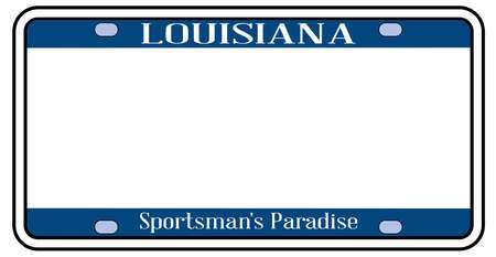Louisiana state license plate in the colors of the state flag with the flag icons over a white background