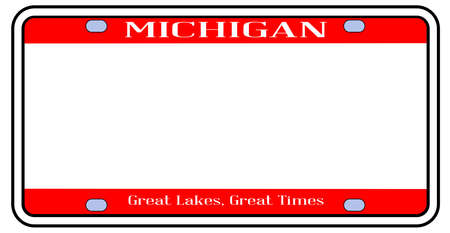Michigan state license plate in the colors of the state flag over a white background