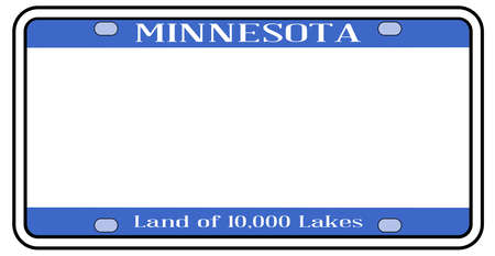 Blank Minnesota state license plate in the colors of the state flag over a white background Stock Illustratie
