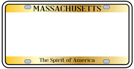 Massachusetts state license plate in the colors of the state flag over a white background