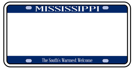 Blank Mississippi state license plate in the colors of the state flag over a white background