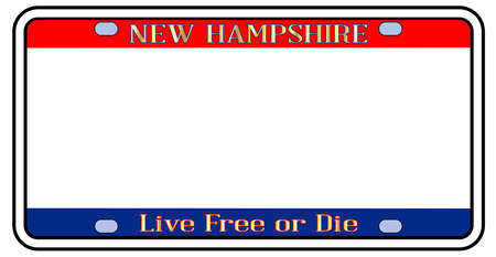 Blank New Hampshire license plate in the colors of the state flag over a white background