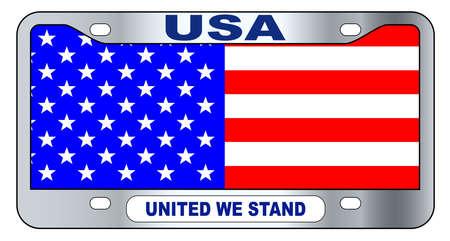 USA parodia la matrícula estatal en los colores de la bandera de barras y estrellas sobre un fondo blanco con la leyenda United We Stand Ilustración de vector