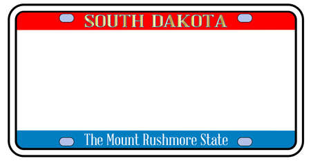 Blank South Dakota  license plate in the colors of the state flag over a white background Stock Illustratie