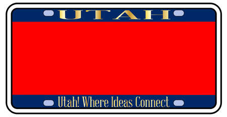 Blank Utah license plate in the colors of the state flag over a white background 向量圖像