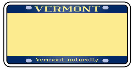 Blank Vermont license plate in the colors of the state flag over a white background
