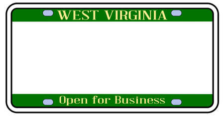 Blank West Virginia license plate in the colors of the state flag over a white background