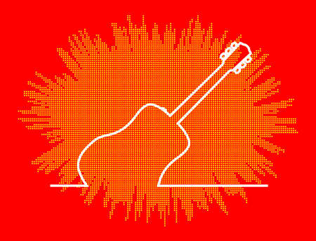 A acoustic guitar in a continuous white line over a red and yellow exxplosion background Vektorové ilustrace