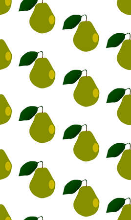 A typical English pear as a seamless pattern  isolated on a white background