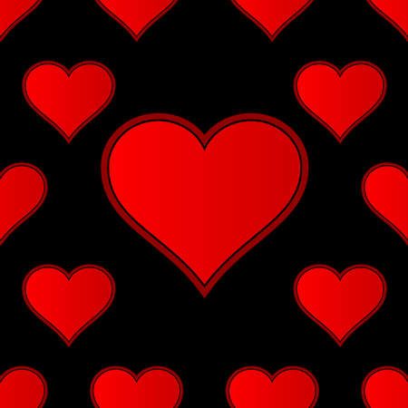 A red love heart repeating seamless background with extra large heart at the ctr of the display 일러스트