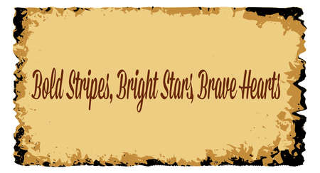 A parchment background of browns shades and black over a white background with the text Bold Stripes Bright Stars Brave Hearts Zdjęcie Seryjne - 140286008