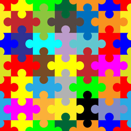 A mult color jigsaw puzzle as a seamless pattern
