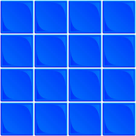 Typical seamless set of blue ceramic bathroom or restroom wall tiles with white grout on a white background
