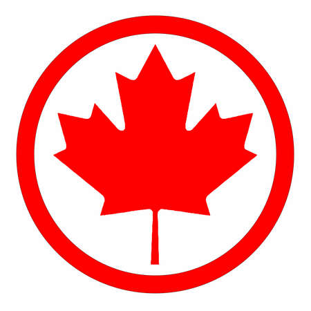 The canadian maple leaf rubber ink stamp icon over a white background