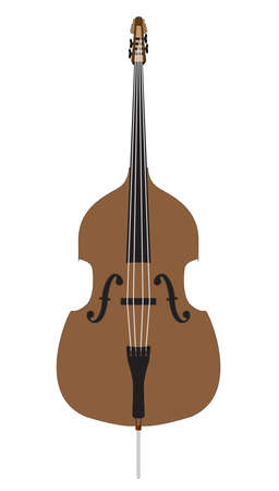 A cartoon style isolated and traditional double bass