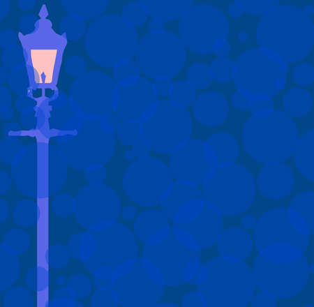 Gaslight in dark blue nigh background of light and dark classic blue circles Иллюстрация