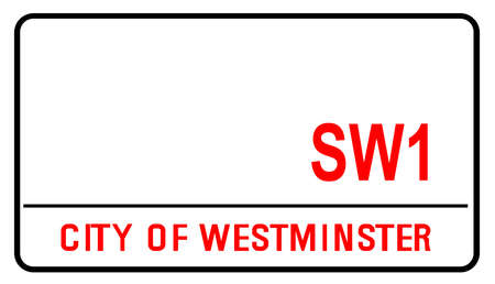 Blank street sign for the City of Westminster the well known and famous London Street Area