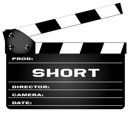 A typical movie clapperboard with the legend Short isolated on white.