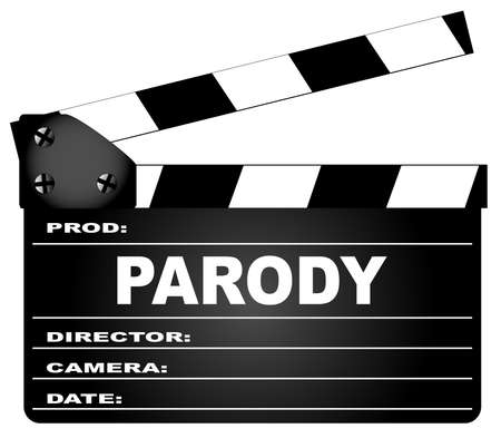 A typical movie clapperboard with the legend Parody isolated on white.