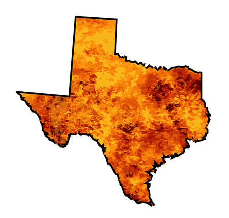 Silhouette map of Texas over a white background with flames inset into the silhouette Ilustración de vector