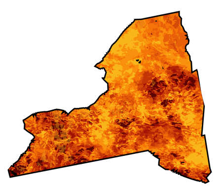 Silhouette map of New York State over a white background with flames inset into the silhouette 向量圖像
