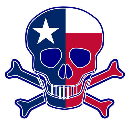 Skull and crossbones with the Texas flag sign over a black background Ilustración de vector