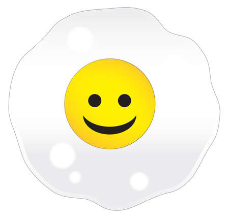 A single frying egg over a white background with a smiley face