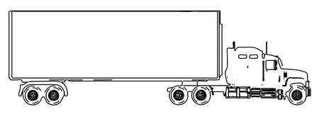 A large lorry and trailor over a white background