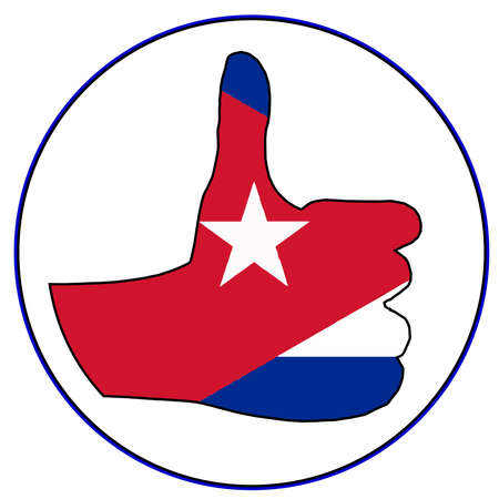A Cuban flag hand giving the thumbs up sign all over a white background