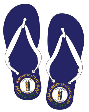 Kentucky State Flag flip flop shoe silhouette on a white background