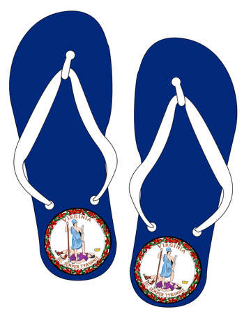 Virginia State Flag flip flop shoe silhouette on a white background