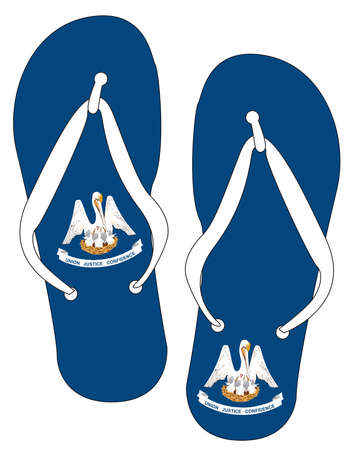 Louisiana State Flag flip flop shoe silhouette on a white background