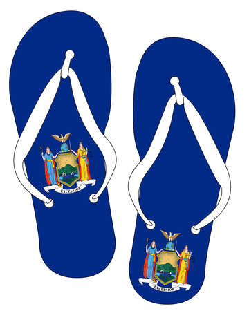 New York State Flag flip flop shoe silhouette on a white background