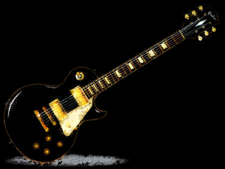 The definitive rock and roll guitar in black, isolated over a black background. Banque d'images