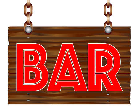 A hanging wooden bar sign isolated against a white background.