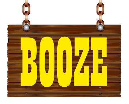 A hanging wooden booze sign isolated against a white background.