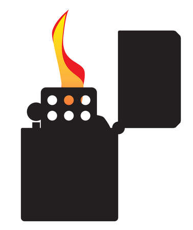 A typical open and ignitied cigarette lighter with flame in silhouette