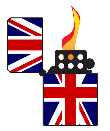 A typical open and ignitied cigarette lighter with a UK Union Jack flag motif 矢量图像