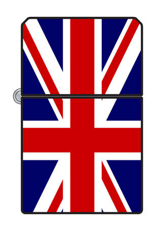 A typical cigarette lighter with a UK Union Jack flag motif 矢量图像