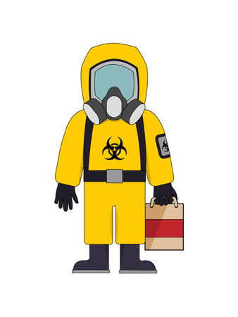 Bright yellow cartoon of a man in aBiohazard Suit carrying a bag
