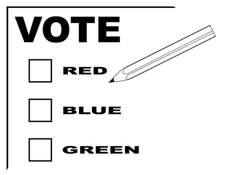 A vote slip for red blue or green with pencil