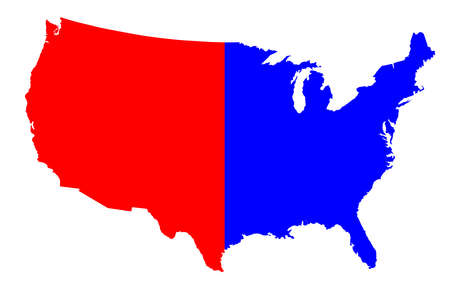 An outline silhouette map of The United States of America in red and blueover a white background Illustration