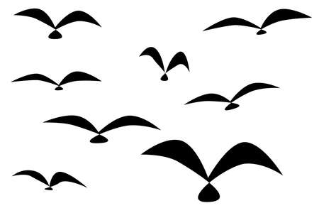 An abstract flock of birds in silhouette over a white background