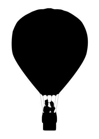 A silhouette of a hot air balloon floating away with a couple in the basketover a white background