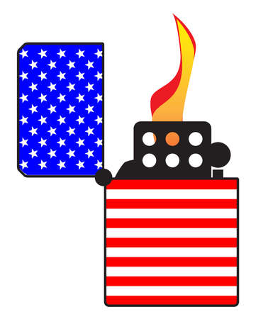 A typical open and ignitied cigarette lighter with a United States of America Old Glory flag motif