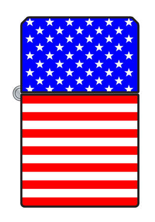 A typical cigarette lighter with a USA Stars and Stripws Old Glory flag motif
