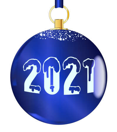 A blue 2021 christmas tree decorative ball. Banque d'images