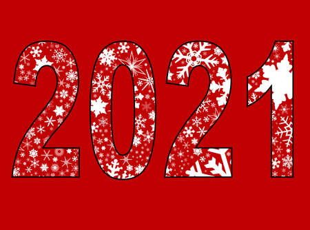 A background of christmas snowflakes on a red backdrop for 2021