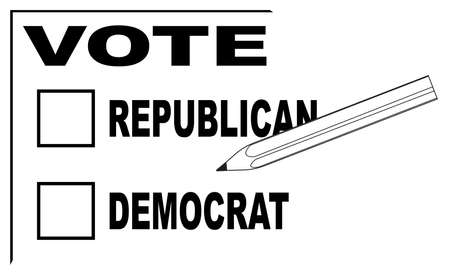A vote slip for both Republican and Democrat with pencil Illustration